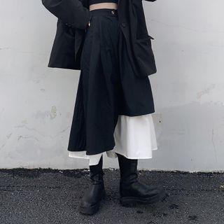 Asymmetrical Color-block A-line Midi Skirt