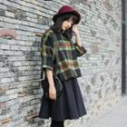 Woolen Plaid 3/4-sleeve Top