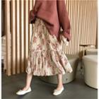 Accordion Pleated Floral Midi A-line Skirt