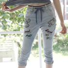 Drawstring-waist Lettering Cropped Jeans