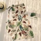 Leaf Print Chiffon Maxi Skirt
