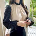 Inset Knit Frilled Dotted Blouse