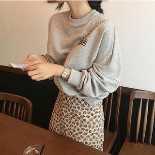 Letter Print Long Sleeve Loose Top Gray - One Size