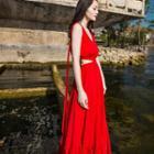 Sleeveless Cutout Midi Beach Dress