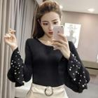 Faux Leather Knit Top