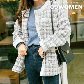 Lace-trim Houndstooth Tweed Jacket