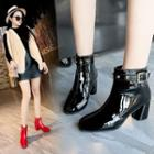 Belted Chunky-heel Patent Ankle Boots