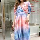Shirred-sleeve Gingham Maxi Dress Multicolor - One Size