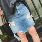 Ripped Washed Denim Skirt