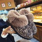 Furry-trim Sequined Platform Ankle Snow Boots