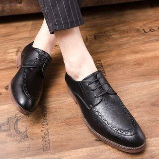 Faux-leather Stitched Lace-up Shoes