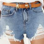 Mesh-panel Distressed Denim Shorts