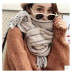 Fringed Striped Knit Scarf