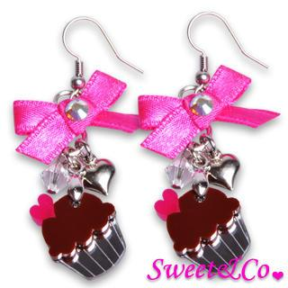 Sweet&co Ribbon Mini Cupcake Crystal Earrings Silver - One Size