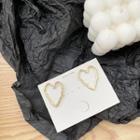 925 Sterling Silver Hollow Heart Stud Earring 1 Pair - 925 Silver Stud Earrings - Gold - One Size
