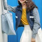 Striped Panel Zip-up Denim Jacket