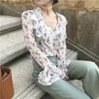 Floral Print Frilled Long-sleeve Chiffon Top