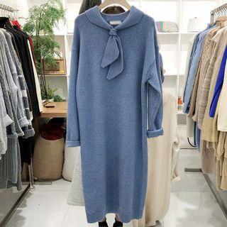 Tie Neck Midi Sweater Dress