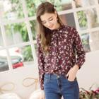 Long-sleeve Floral Pleated Blouse
