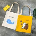 Animal Print / Lettering Canvas Tote Bag