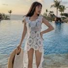 Crochet Lace Long Vest White - One Size