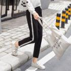 Striped Trim Cropped Sweatpants