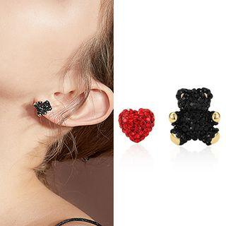 Non-matching Rhinestone Stud Earring 1 Pair - Silver Stud - Black & Red - One Size
