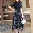 Mock Two-piece Short-sleeve Lace Panel Midi Dress