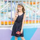 Sleeveless Striped Cutout Back Dress