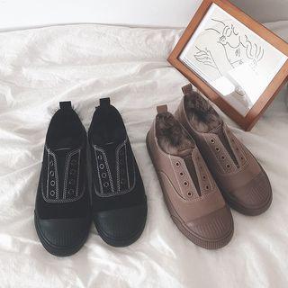 Plain Fleece-lined Canvas Sneakers