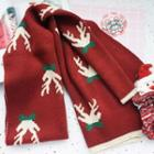 Patterned Scarf Dark Red - One Size