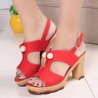 Faux Pearl Block Heel Sandals