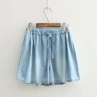 Distressed Wide Leg Denim Shorts
