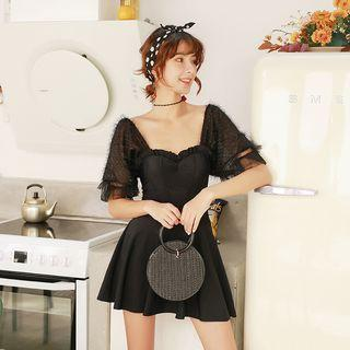 Short-sleeve Textured Swim Dress