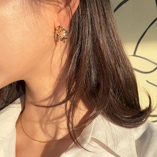 Metallic Round Earrings One Size
