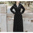 Long-sleeve Plaid Velvet Midi A-line Dress