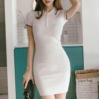 Short-sleeve Knit Bodycon Dress With Polo Collar