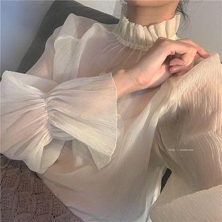 Long-sleeve Ruffle Trim Chiffon Top Almond - One Size