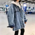 Fray Hooded Denim Jacket
