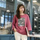 Wide-sleeve Embellished Printed T-shirt