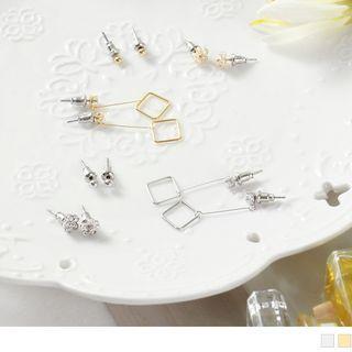 Set Of 3: Rhinestone Beaded Flower Earrings