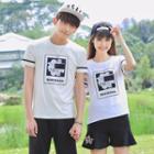 Couple Matching Print Mesh Panel Short-sleeve T-shirt
