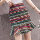 Mini Patterned Mermaid Skirt