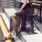 Dotted Mesh Maxi Skirt