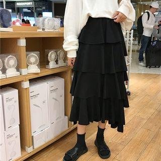 Plain Midi Layered Skirt