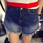 Fray Gradient Denim Shorts