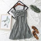 Sleeveless Check Bow-accent Dress