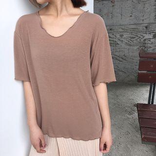 Ruffle Trim Elbow-sleeve T-shirt