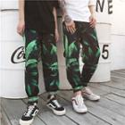 Leaf Print Baggy Pants