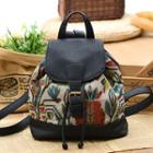 Floral Print Canvas Buckled Faux Leather Backpack